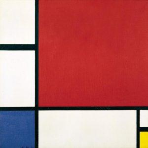 Piet Mondarian Kompozycja wczerni, żółcieni ibłękcie