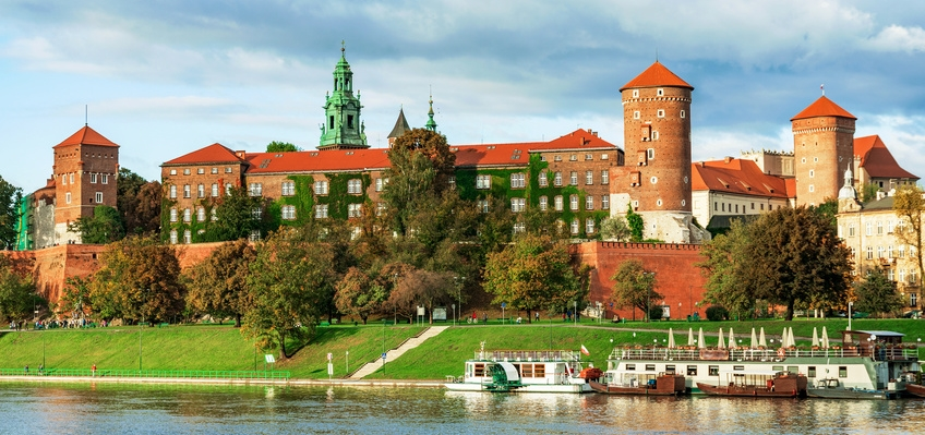 View of Wawel castle and Vistula river