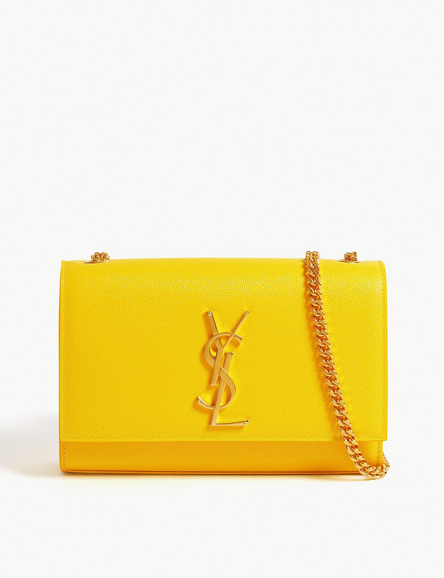saint-laurent-Mimosa-yellow-Kate-Leather-Wallet-On-Chain