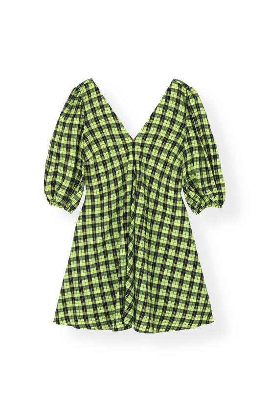 "Checked Seersucker Midi Dress"" Ganni"